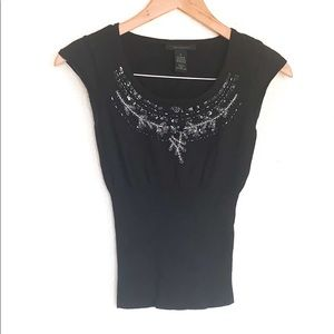 The Limited Black Sequin Cropped Sweater Blouse